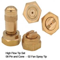 High Flow Tip Set Brass 08 Pin/Cone, 8002 Fan